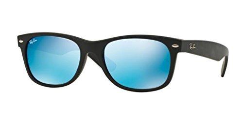 Ray-Ban New Wayfarer Sonnenbrille Black Rubber Blue Flash