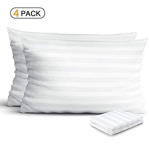 Haperlare 4 Pack Premium Allergie Schutz Kissenbezüge 400Fadenzahl 100% ägyptische Baumwolle Kissenbezug Standard Kissenbezug weiß mit Reißverschluss Standard Sateen 300t -