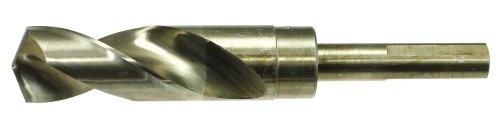 """drillco 1000ec Serie Cobalt Stahl reduced-shank Bohrer, Bronze-Finish, rund Schaft mit Wohnungen, Spiral Flute, 135Grad Kreuzanschliff, 9/16"""", 1"""