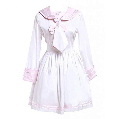ddle-Long Dress Damen Baumwolle Rosa Und Weiß Sailor Bow Cotton Nette Schule A-Linie Lolita Kleid ()