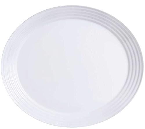 Ovale Platten (Arcoroc ARC L9932 Stairo Uni Platte oval, 33x27,8 cm, Opalglas, weiß, 6 Stück)