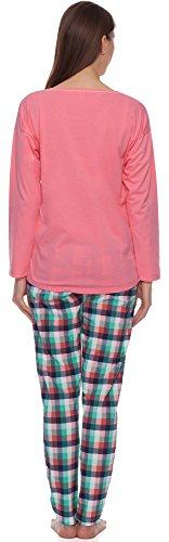 Italian Fashion Manuela Confortable Et Joli Pyjama De Femmes Manches Longues Pantalon Long- Fabriqué En UE Rose