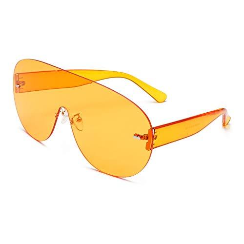 SNXIHES Sonnenbrillen Übergroße Shield Visor Sonnenbrille Damen Große Sonnenbrille Herren Transparenter Rahmen Vintage Große Winddichte Retro Haubenbrille 1