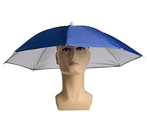 Isuper Regenschirm Hut Faltbare Elastische Kopfbedeckung Regenschirm-Hut für Angeln, Garten, Fotografie und Wandern, Blau