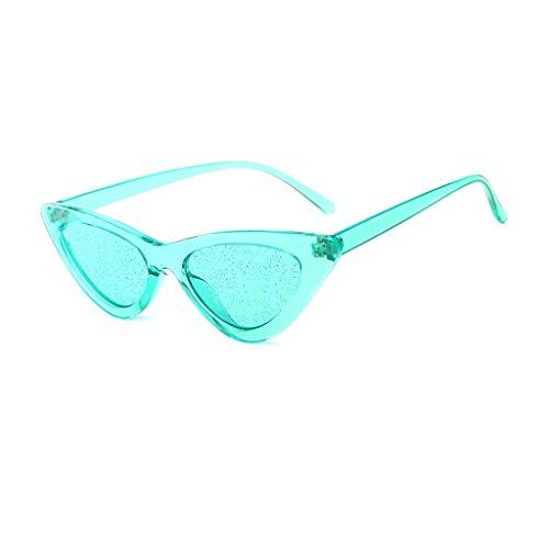 VENMO Mode Herren Retro kleine ovale Sonnenbrille für Damen Metallrahmen Shades Brillen Katzenauge Metall Rand Rahmen Damen Frau Mode Sonnebrille Gespiegelte Linse Women Sunglasses (L-Grün)