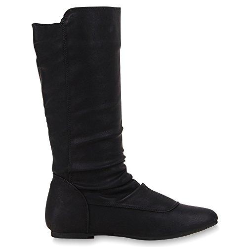 Bequeme Flache Damen Stiefel Hochschaft Stiefeletten Schuhe Gr. 36-41 Schwarz