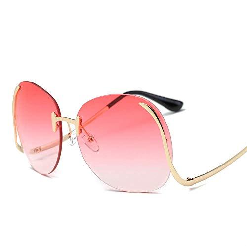 Sonnenbrille Farbe Rahmenlose Punch Female Sonnenbrille Marke Luxus-designerin Runde Linsen-objektiv-dame Licht-farbverlauf Farbe S331