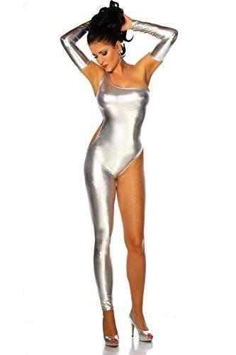07de62e5402b Zongsi Sexy Frauen Lackleder Club Catsuit Bodysuit Overall Clubwear Kostüm  mit Handschuhen (Silber)
