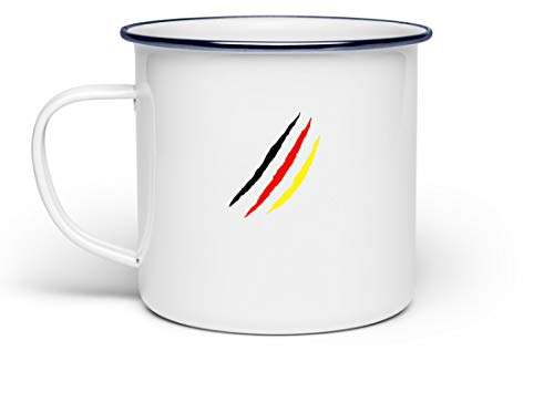 generisch Schwarz Rot Gold Deutschland Flagge Liebe Oktoberfest München Bayern Festzelt Outfit - Emaille Tasse ()