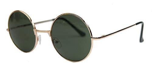 Schmale runde Retro Sonnenbrille im Lennon Stil Metallrahmen Nickelbrille Klassiker im 60er 70er Jahre Vintage Look - viele Farben LNS (Gold / G15)