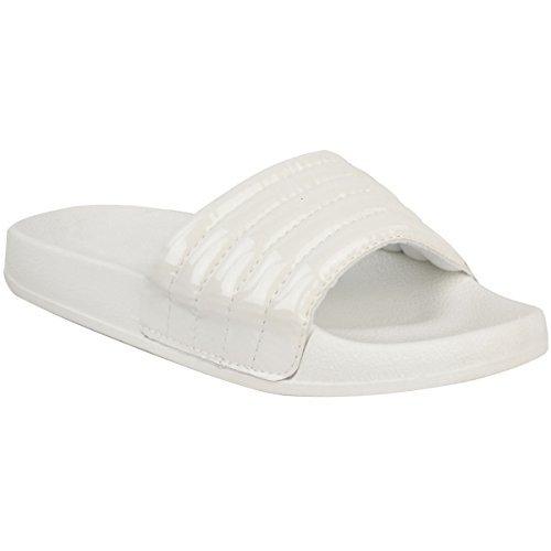 La Femme Confortable A Poli Les Chaussures En Caoutchouc Capitonnées De Chaussures Plates De Taille De Chausson D'ajusteur De Blanc