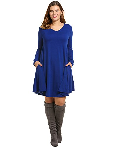 ZEARO Damen Kleid Langarm Kleid Übergröße Knielang Kleid Lose Blusenkleider V-Ausschnitt L-XXXL Blau