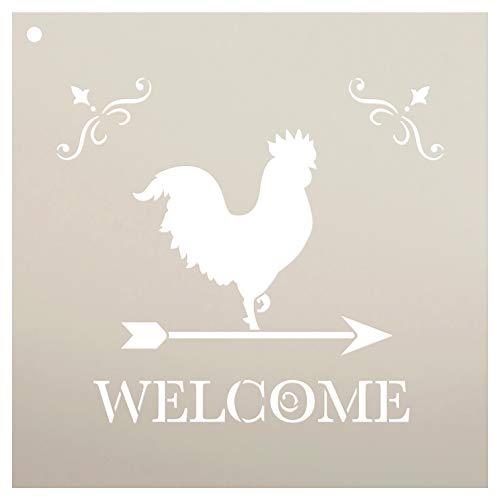 """StudioR12 Welcome with Rooster wiederverwendbare Mylar-Schablone, zum Bemalen von Holzschildern – Paletten – Kissen, Wände – DIY Country Decor – Größe wählen 12\"""" x 12\"""""""