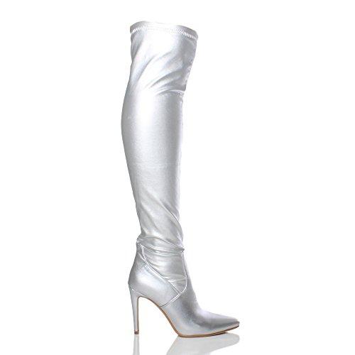 Femmes talon haut au-dessus du genou élastique bottes pointues cuissardes pointure Argent métallique