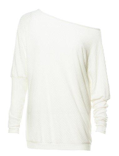 OUFour Donna Pipistrello Senza Spalline Maglietta Pullover Sweatshirt Elegante Maglione Maglie a Manica Lunga Casuale Allentato Jumper Tops Bluse Felpa Bianca
