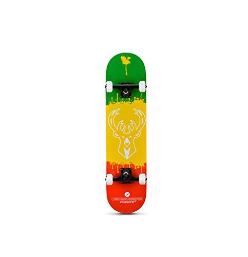 FTYUC Longboard skateboardFire Wheel Skateboard Doble-Warping Road Board Arce de Madera Tricolor Ciervo