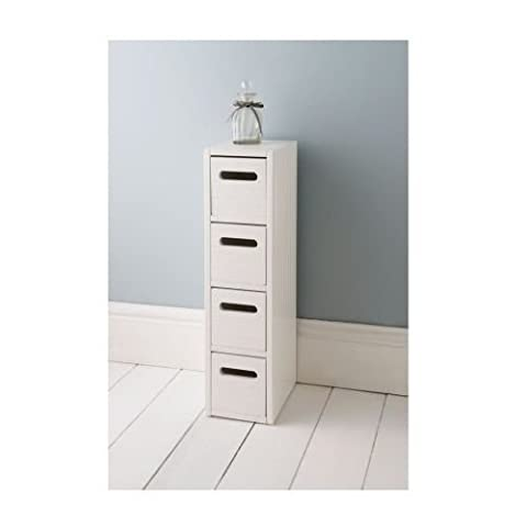 Simple Classic Design White Wooden Four Drawer Floor Stand Bathroom