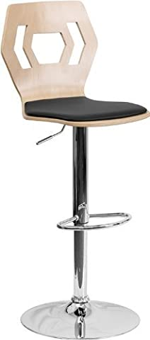 Flash Furniture Beech Bentwood Adjustable Height Bar Stool with Black Vinyl Seat and Cutout Back by Flash