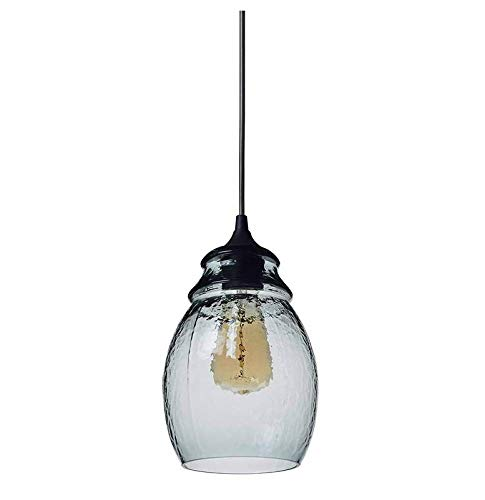 A&D Pendelleuchte Mundgeblasenes Glas Drop Hanging Light, Glas Bell Anhänger, Hellgrauer Blauer Glasschirm, Nickel Gebürstet,Schwarz matt,Glas -