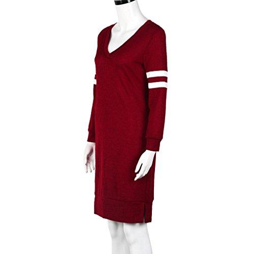 Robe Femme, Oyedens Femmes V-Cou DéContracté à Manches Longues Mini Club Robe Rouge
