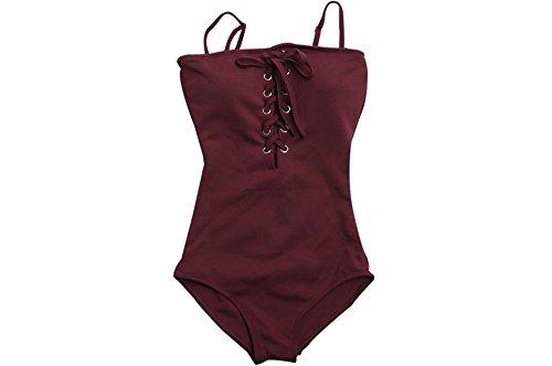 Siam Badeanzug sexy Straps Abdeckung Bauch Badeanzüge Badeanzug Damen  sammeln Red wineXL