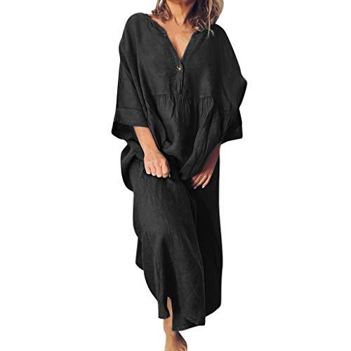 LOPILY Lose Tunika Blusenkleider Damen Sommer Lässige Spitzensaum V-Ausschnitt Kleider Strandkleid Einfarbig Einfach Bequem Freizeit Knielang Sommerkleider Übergröße (X2_Schwarz, EU-40/CN-L)