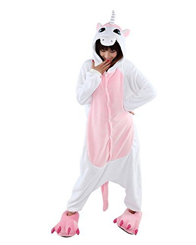 LATH.PIN Jumpsuit Tier Karton Fasching Halloween Kostüm Sleepsuit Cosplay Fleece-Overall Pyjama Schlafanzug Tierkostüme, Einhorn (Pink), L