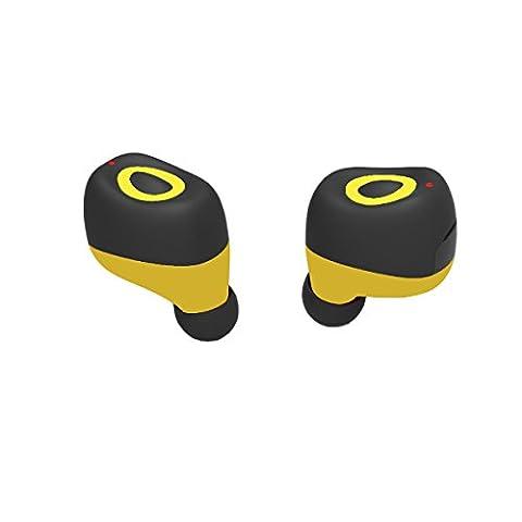 Wireless Bluetooth Headphone Earbuds Q17 Mini Wireless Bluetooth Kopfhörer Sport Headsets Zwillinge Noise Cancelling Stereo Headsets Sweatproof mit HD für Smartphones(Yellow)