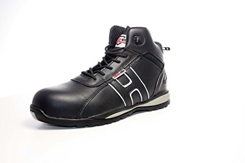 Steel Toe Suede Leather - Unisex Work Safety Trainer - EN Tested - SRA Rated Black/Grey 9 UK