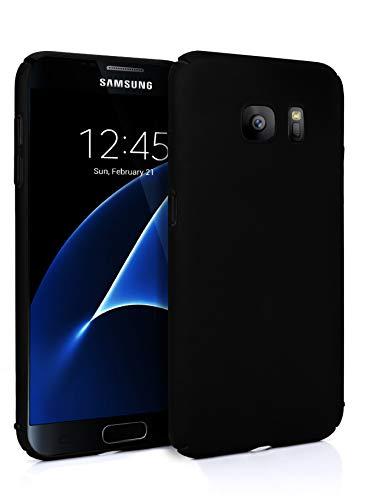 MyGadget Slim Fit Hardcase Hülle für Samsung Galaxy S7 - Schutzhülle federleicht & Ultra dünn - Plastik Case Hard Cover Schutz Kratzfest in Matt Schwarz Schutz-cover