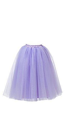 Honeystore Damen's Lang Ballet Petticoat Abschlussball Party Zubehör Tutu Unterkleid Rock Lavendel - Adult Kostüm Julia