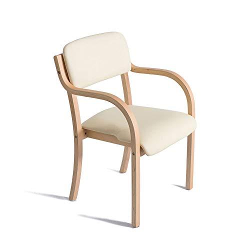 YAN JUN Fauteuil en bois avec accoudoirs, coussins blancs et sièges pour la maison et le travail Chaise de salle à manger/maquillage / d'apprentissage de Brown AA
