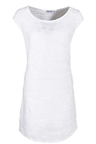 PEKIVESSA Damen Leinenkleid Häkel-Stickerei Sommerkleid Weiß 42 (Herstellergröße XL)