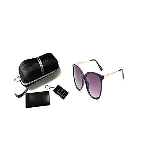 Sport-Sonnenbrillen, Vintage Sonnenbrillen, Luxury Women Sunglasses Fashion Round Ladies Vintage Retro Oversized Female Sport Sun Glasses Tide BlackGray-Package B