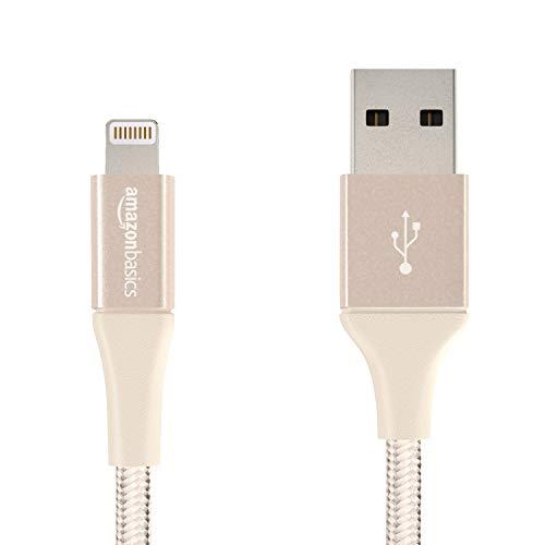 AmazonBasics - USB-A auf Lightning-Kabel mit doppelt geflochtenem Nylon - Apple MFi-zertifiziert, Gold, 10cm -