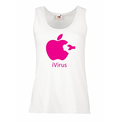 lepni.me Damen Tank-Top iVirus - Neues tech Liebhaber lustiges Geschenk (Large Weiß Magenta) (Holz-camo-t-shirt)