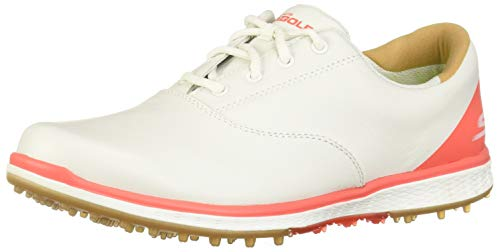 Skechers 2018 GO GOLF Elite 2 Womens Spikeless Leather Shoes 14866 White/Coral 7UK -