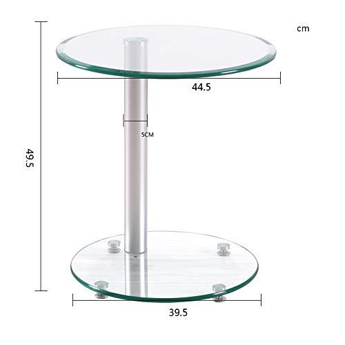 FEI - Computer-Schreibtisch Ovaler Couchtisch Kleiner Beistelltisch Beistelltisch, Save Space Ecktisch für Schlafzimmer & Wohnzimmer, Klar gehärtetes Glas für alle Workstations (Farbe : Weiß) -