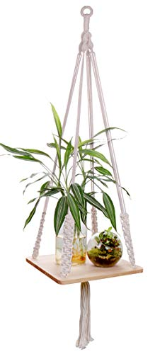 Luxbon Makramee Regal Blumenampel Pflanzenaufhänger aus Holz Baumwollseil für Innen Decken Balkon Wanddekoration 41 Zoll