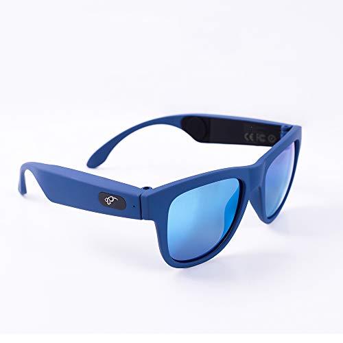 Knochenleitungs-Kopfhörer Drahtlose Bluetooth-Smart-Sonnenbrille Musik mit offenem Ohr Freisprech-Headset Stereo-Kopfhörer für iOS Android iPad Smart-Handys, Tablet und Smart Watch (Schwarz),Blue