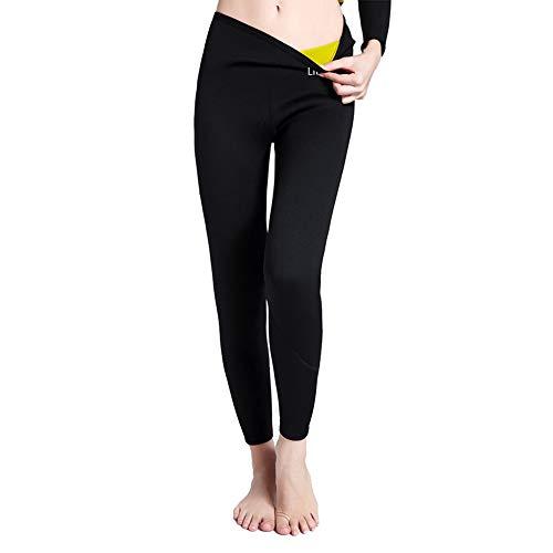 3/4 Damen Gewichtsverlust Leggings Passt zum Schwimmen Sauna Yoga Fitness-Studio für Abnehmen Fördern Sie Schweiß Trainingshosen (Schwarz M)