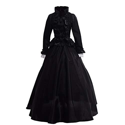 GRACEART Damen Gothic Viktorianisches Kleid Renaissance Maxi Kostüm (L, Schwarz)