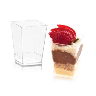 �ml Einweg Kunststoff Quadrat Dessert Cup Schnapsgläser–Pack of farblos (Schnapsglas Desserts)