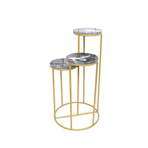 Jstyal968 Yalztc-zyq16 Indoor Flower Stand 3 Layer Multifunktionales Einfaches Wohnzimmer Home Decoration Indoor-Ausstellungsstand Pot Rack-Racks (Farbe: Gold, Größe: Large) (Style : Style3) -