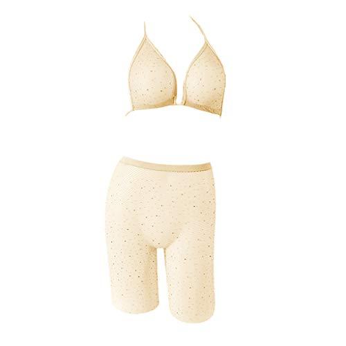 EVA Unterwäsche Damen Sexy Fischnetz Babydoll Set Erotik Dessous Set Push up Nachtwäsche Lingerie Bademantel Nachthemd Transparente Reizwäsche -