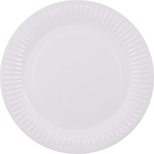 Pritogo - Platos de Papel (23 cm de diámetro, 350 g/m², Resistentes, revestidos, Redondos, 50/100/500/1000 Unidades), Color Blanco, Blanco, 50 Unidades