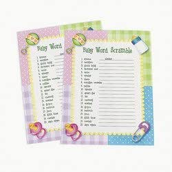 Baby Word Scramble Baby Shower Game ~ 24 sheets by FE TOY (English Manual)