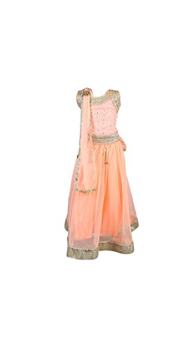 My Lil Princess Baby Girls Birthday Party wear Frock Dress_Orange Silver Lehenga...