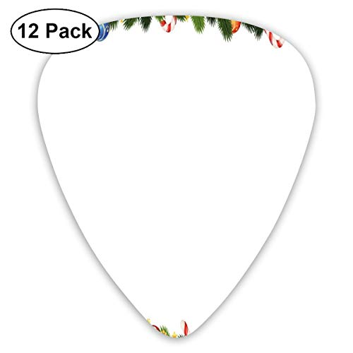 Guitar Picks - Abstract Art Colorful Designs,Fir Tree Branches With Christmas Theme Candy Canes Baubles Festive Winter Holiday,Unique Guitar Gift,For Bass Electric & Acoustic Guitars-12 Pack