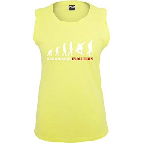 Evolution - Snowboard Evolution - ärmelloses Damen T-Shirt mit Brusttasche Neon Gelb